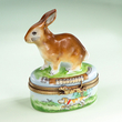 Limoges rabbit box with dog