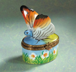 Limoges butterfly on flowers box