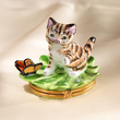 Limoges cat with butterfly on leaf box
