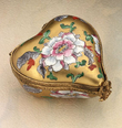limoges gold heart with white flower box